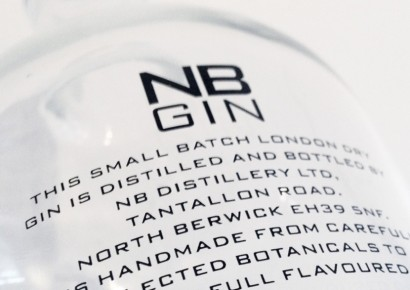 NB Gin bottle description on back of bottle