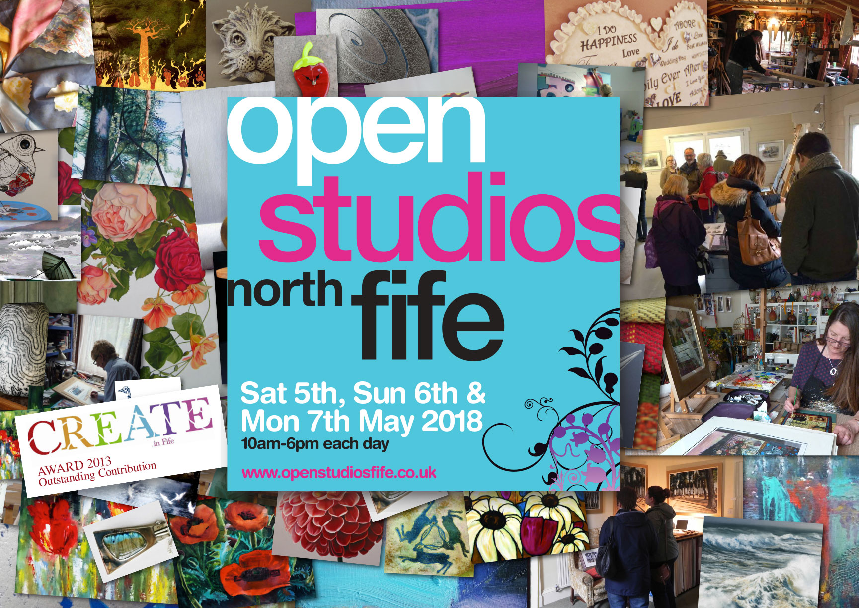 Open Studios North Fife 2018 Logo surrounded by artists and their work